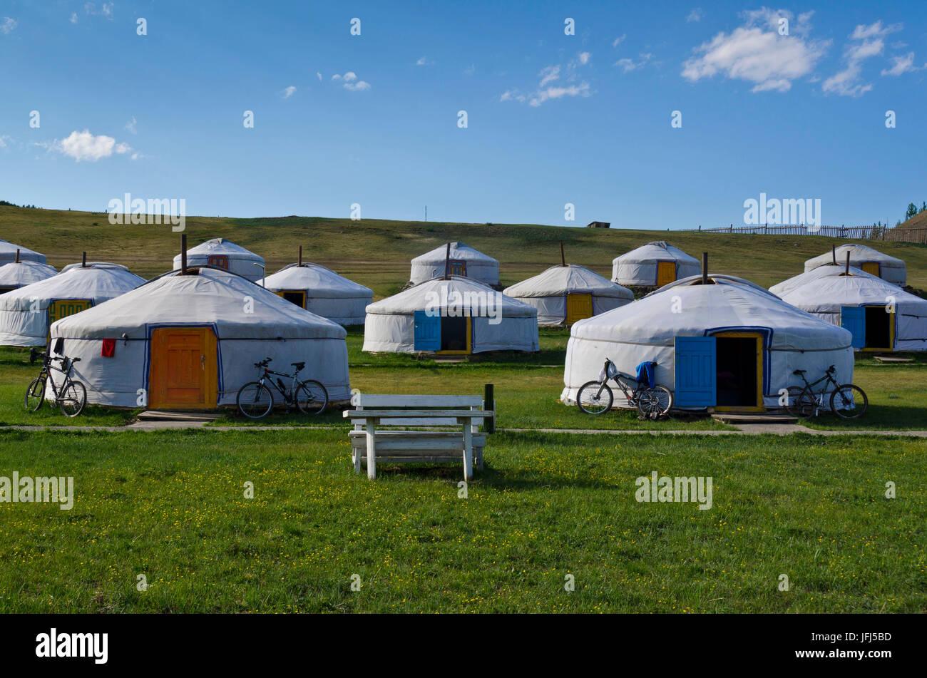 La Mongolie, l'Asie centrale, au camp de yourte, Tsenkher Banque D'Images