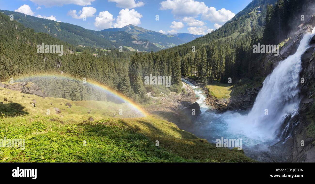 L'Europe, Autriche, Salzbourg, Krimml, Parc National du Hohe Tauern, arc-en-ciel sur les Chutes de Krimml Banque D'Images