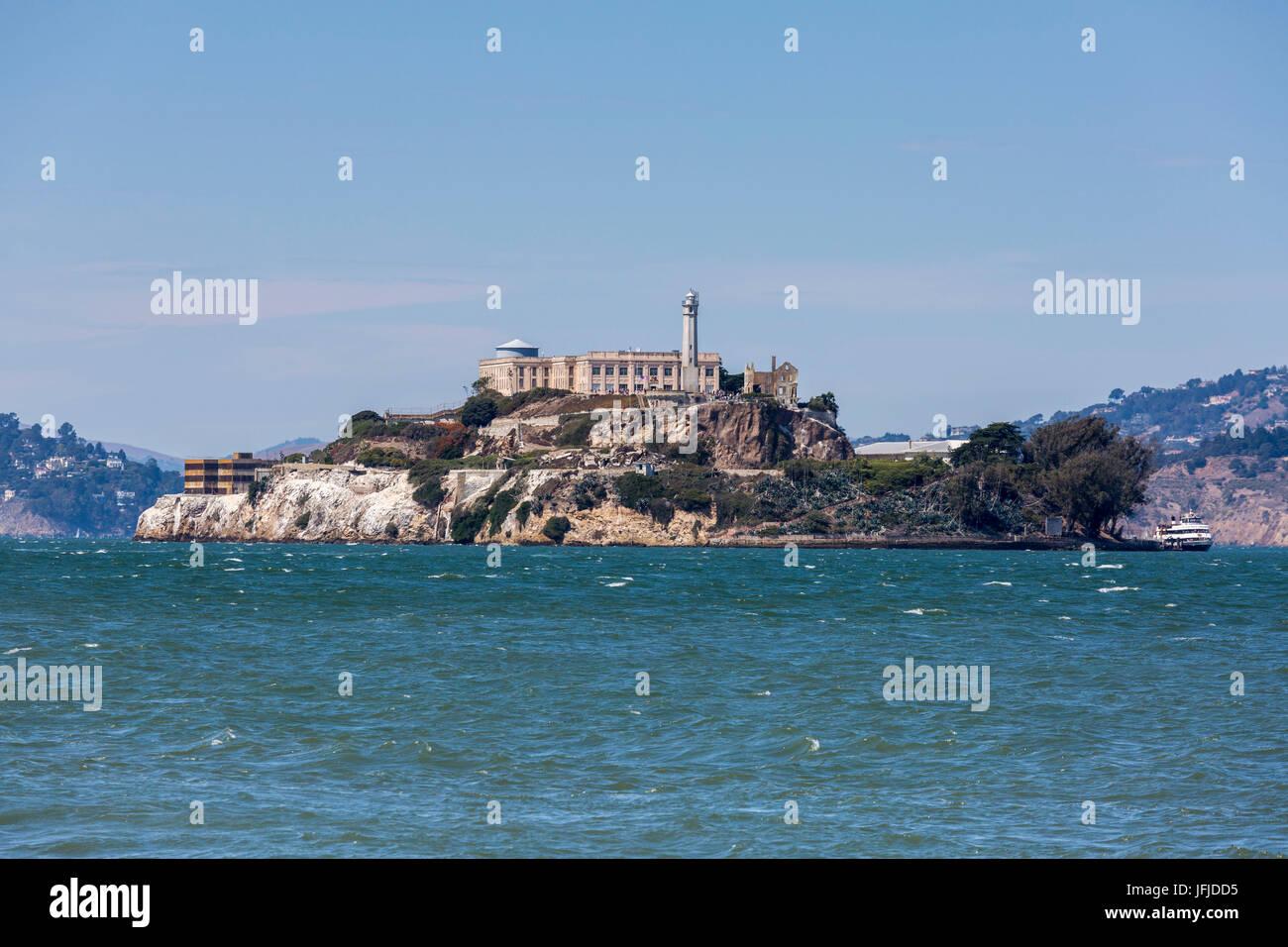 L'île d'Alcatraz dans la baie de San Francisco, comté de Marin, en Californie, USA, Photo Stock
