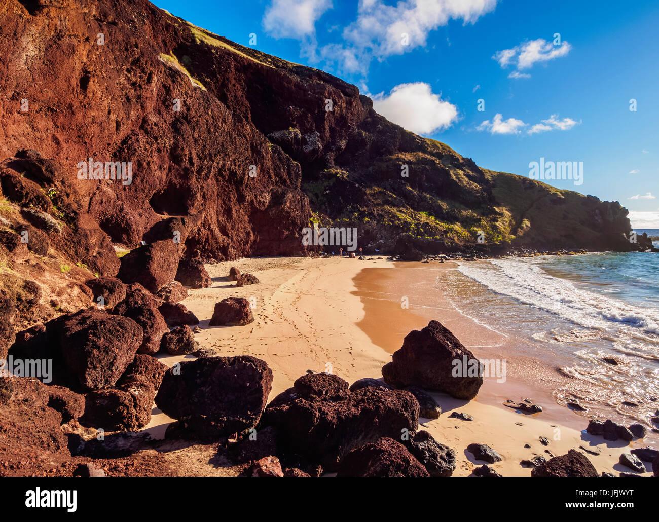 Plage Ovahe, île de Pâques, Chili Photo Stock