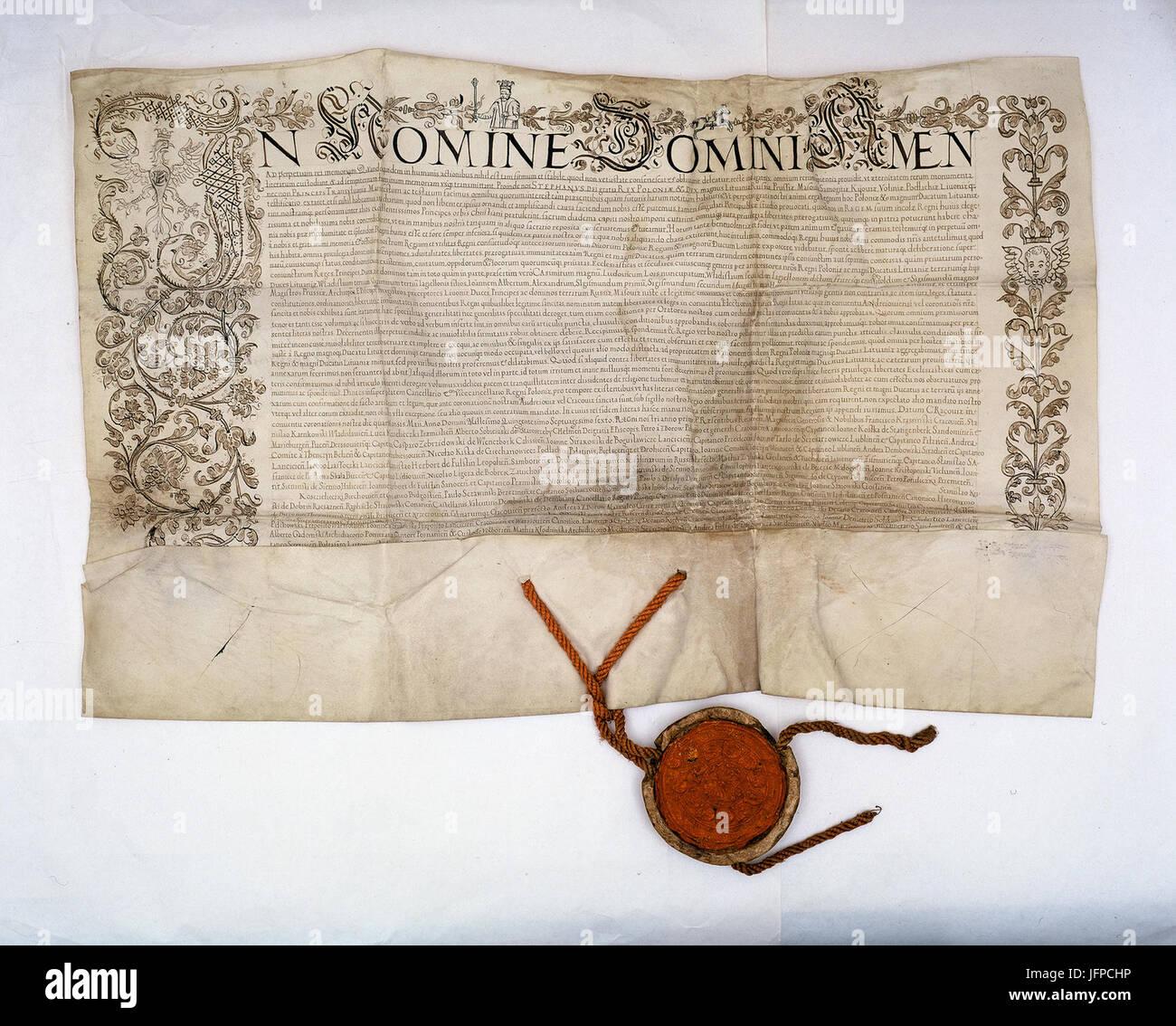 AGAD Potwierdzenie przez króla polskiego Stefana Batorego koronacyjnym w sejmie na roku 1576 j'przywilejów Rzeczpospolitej Banque D'Images