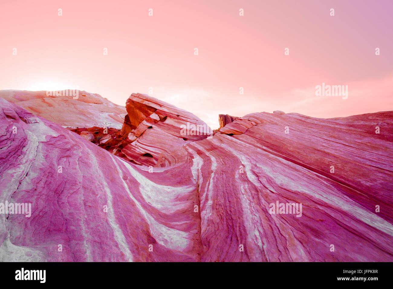 Valley of Fire Nevada, incendie la formation de vagues. Banque D'Images