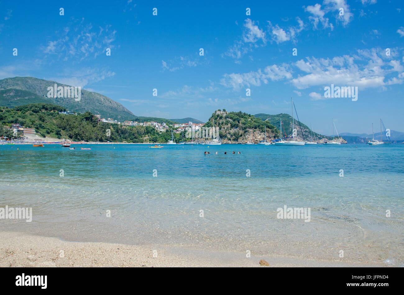 Scène de Plage - Plage de Valtos - Mer Ionienne - Parga, Grèce Photo Stock