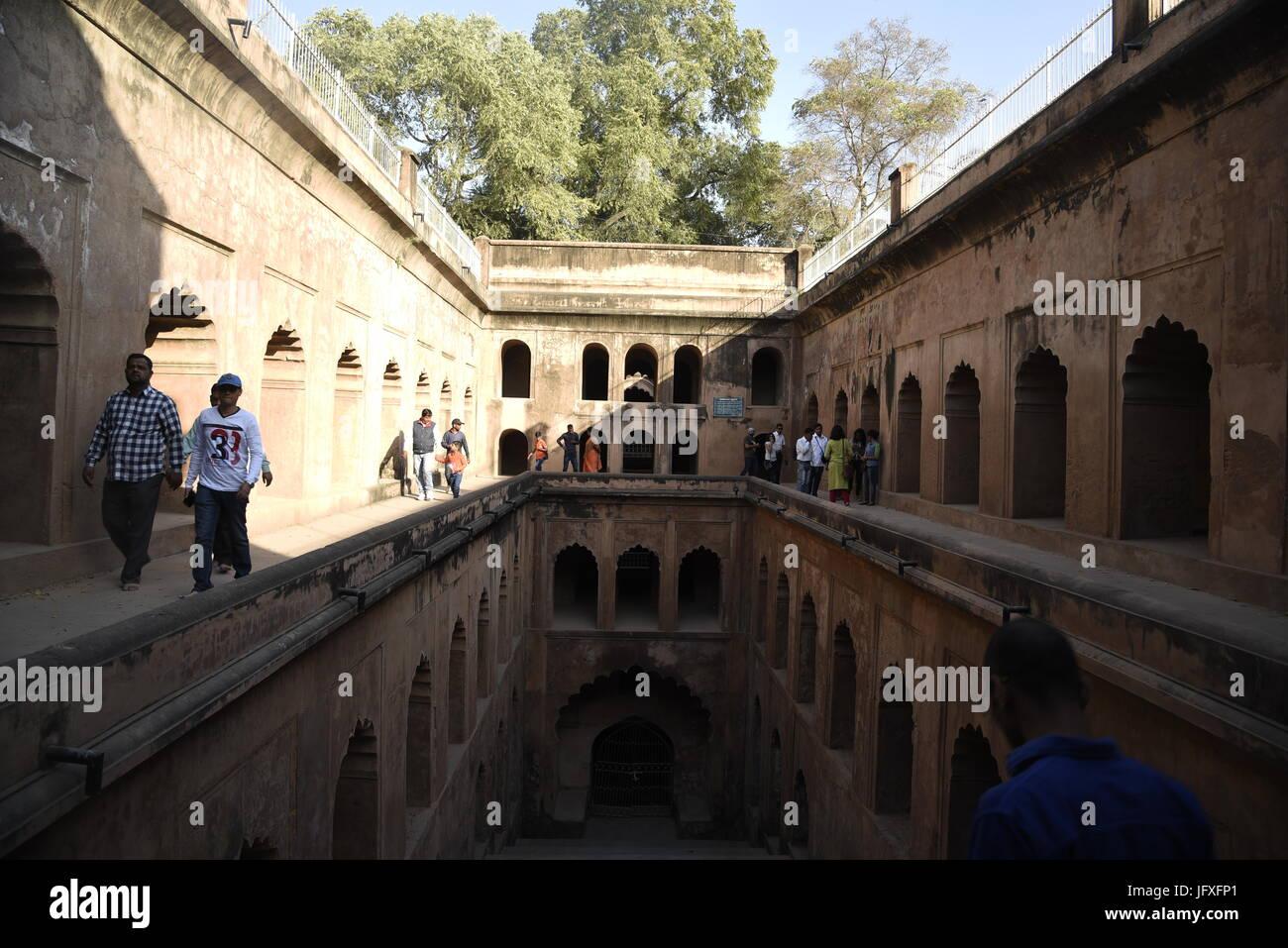 Bara Imambara monument grand architecture moghole de Lucknow, Uttar Pradesh, Inde, Asie en mois de février 2017 Banque D'Images