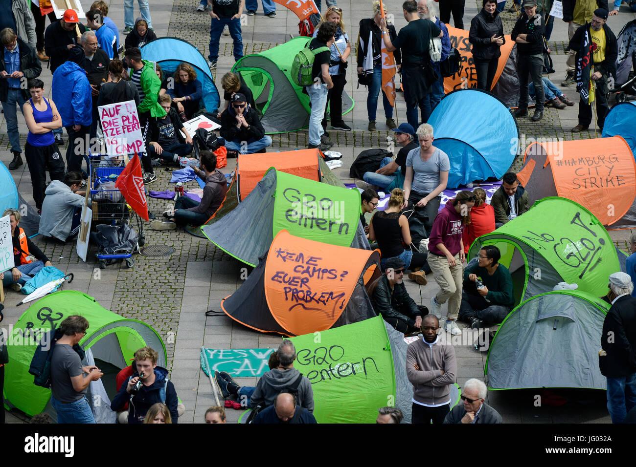 Hambourg, Allemagne. Juillet 02, 2017 meeting de protestation contre l'. sommet du G-20 en juillet 2017 / Deutschland, Photo Stock