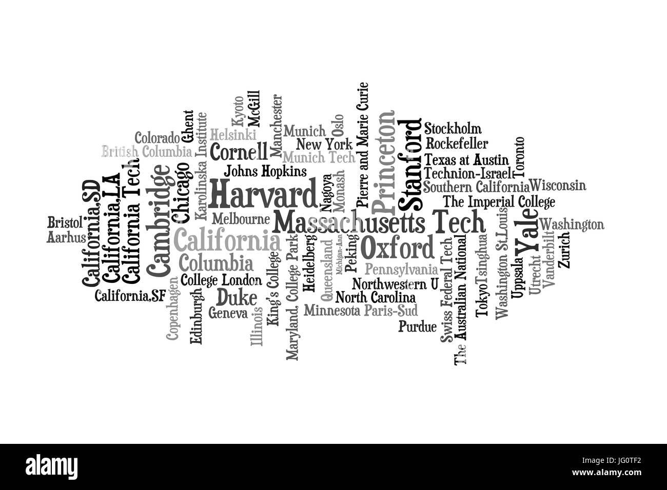 Célèbre et populaire des universités et instituts du monde entier. La taille correspond à peu Photo Stock
