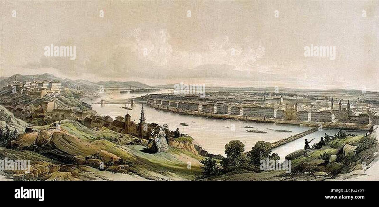Hajóhíd Pest-Budlánchid és án 1853 Banque D'Images