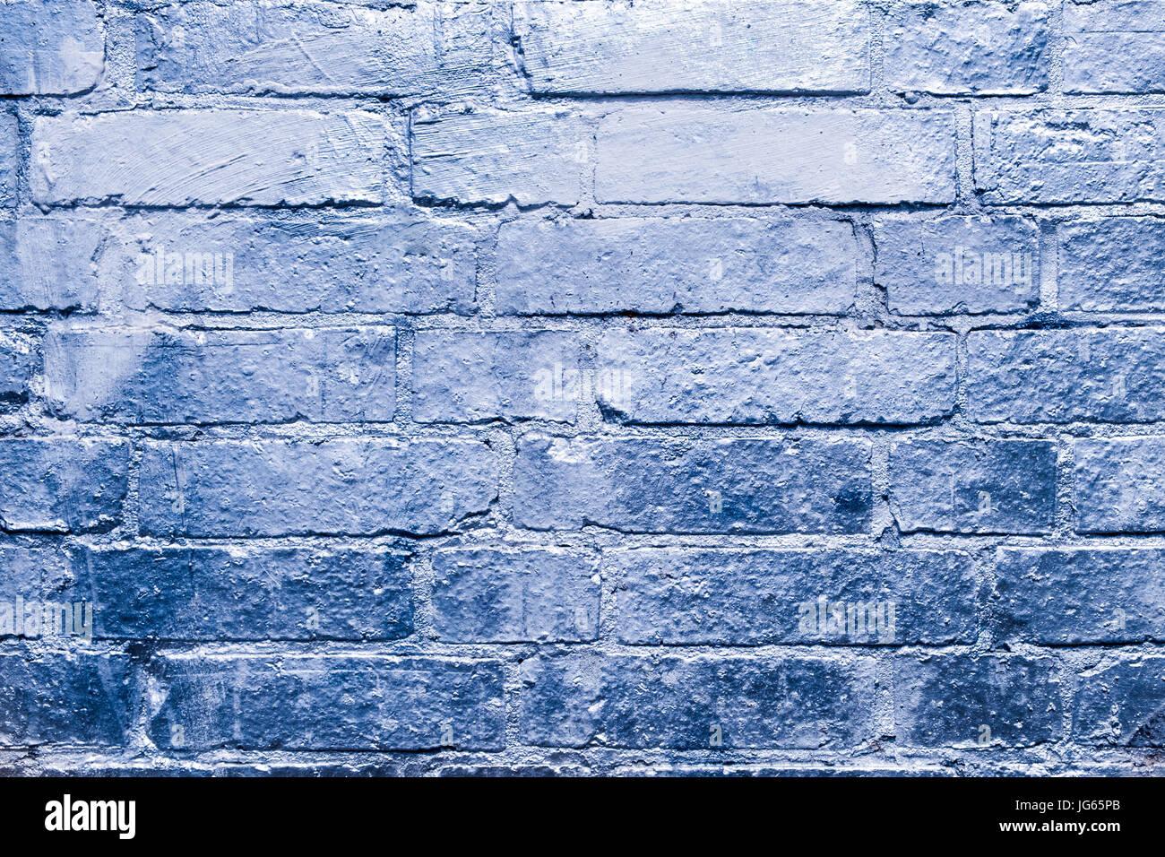 Mur De Brique Bleu Avec De La Peinture De Couleur Argent