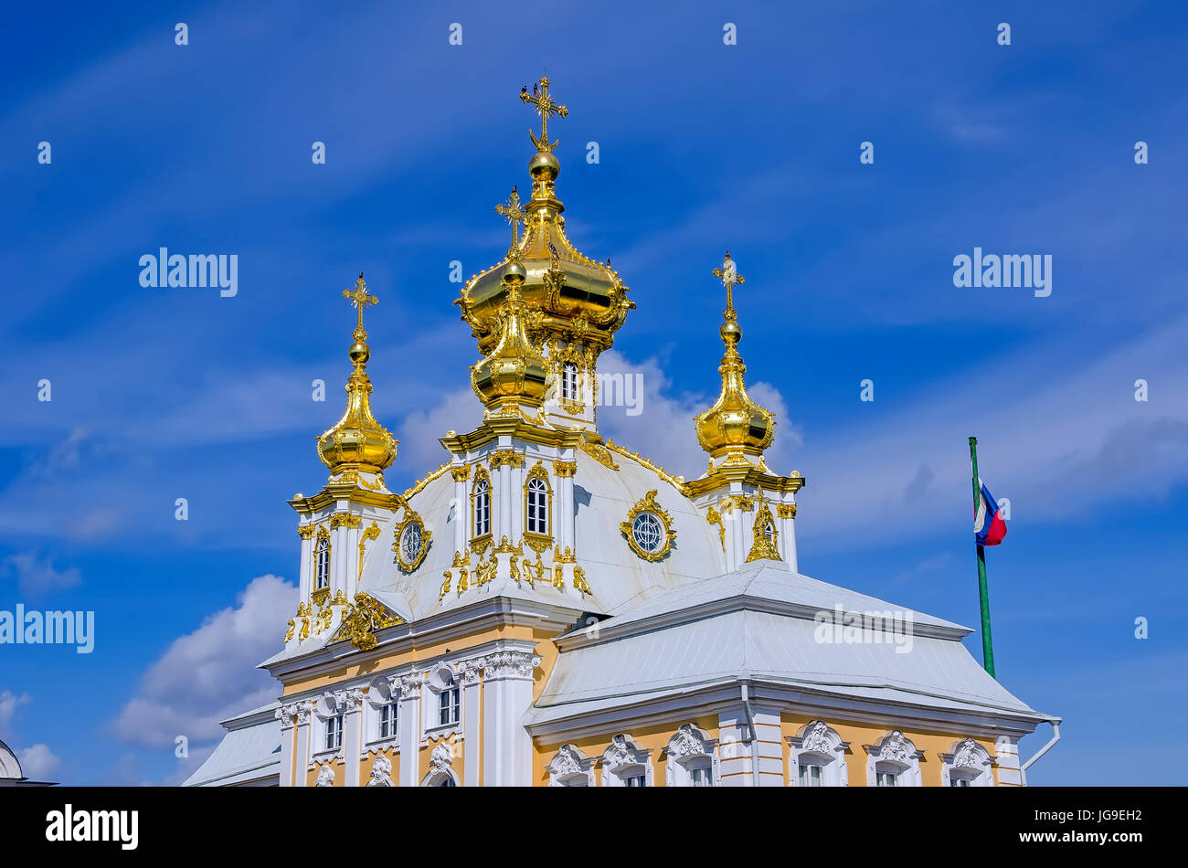 Dômes dorés Peterhof Palace de l'église au Grand Palace situé près de Saint Petersburg, Photo Stock