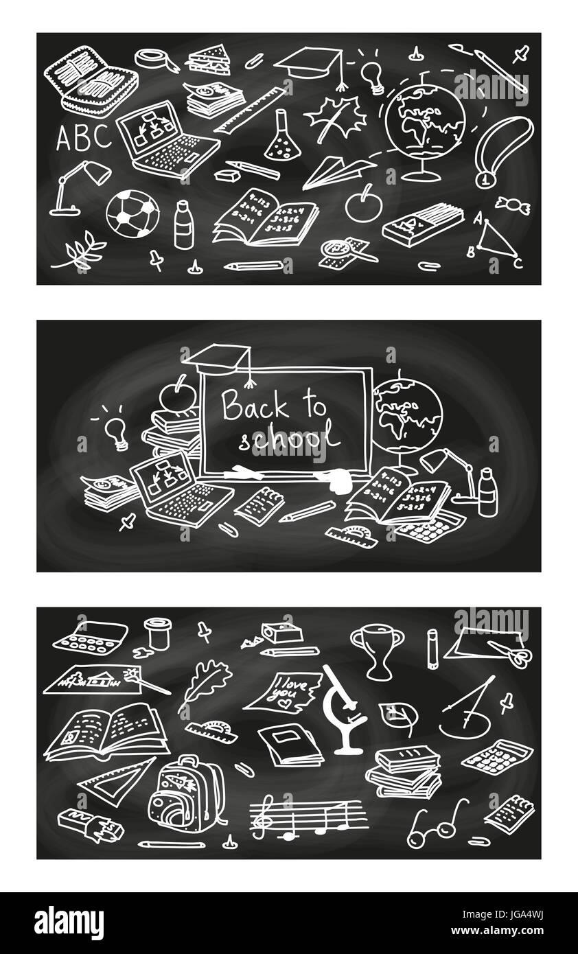 Retour A Lecole Jeu De Cartes Avec Des Objets Sur Fond Noir Tableau 3 Etiquettes 1 Affiche Invitation Voeux Carte Visite Pour