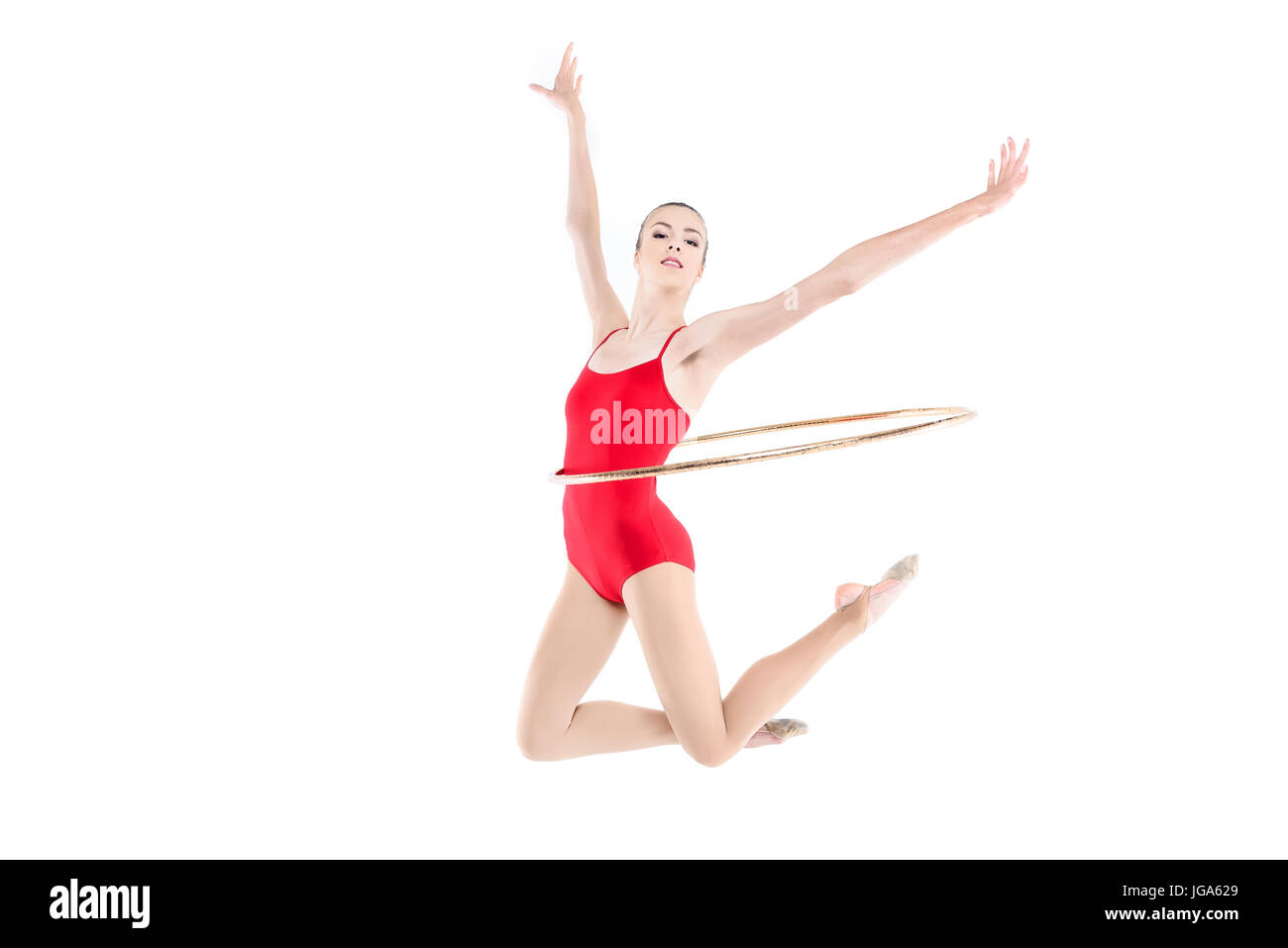 Formation gymnastique rythmique sportive avec hoop sur taille isolated on  white Photo Stock 30d16c571a9