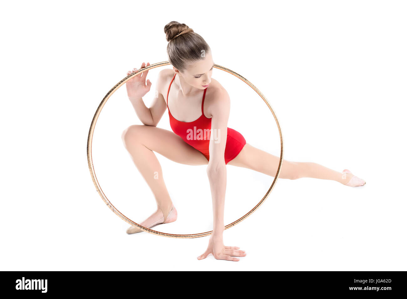 Formation gymnastique rythmique sportive avec hoop isolated on white Photo  Stock 6bc689c3a1a
