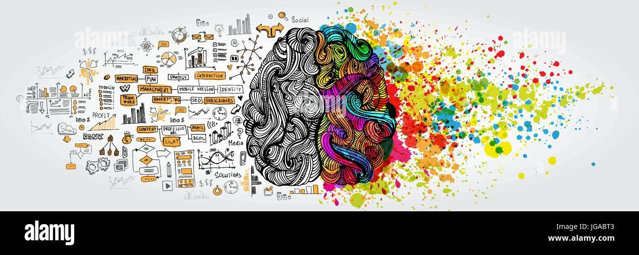 Gauche droite concept du cerveau humain. La partie créative et partie logique sociale et commerciale avec doodle Photo Stock