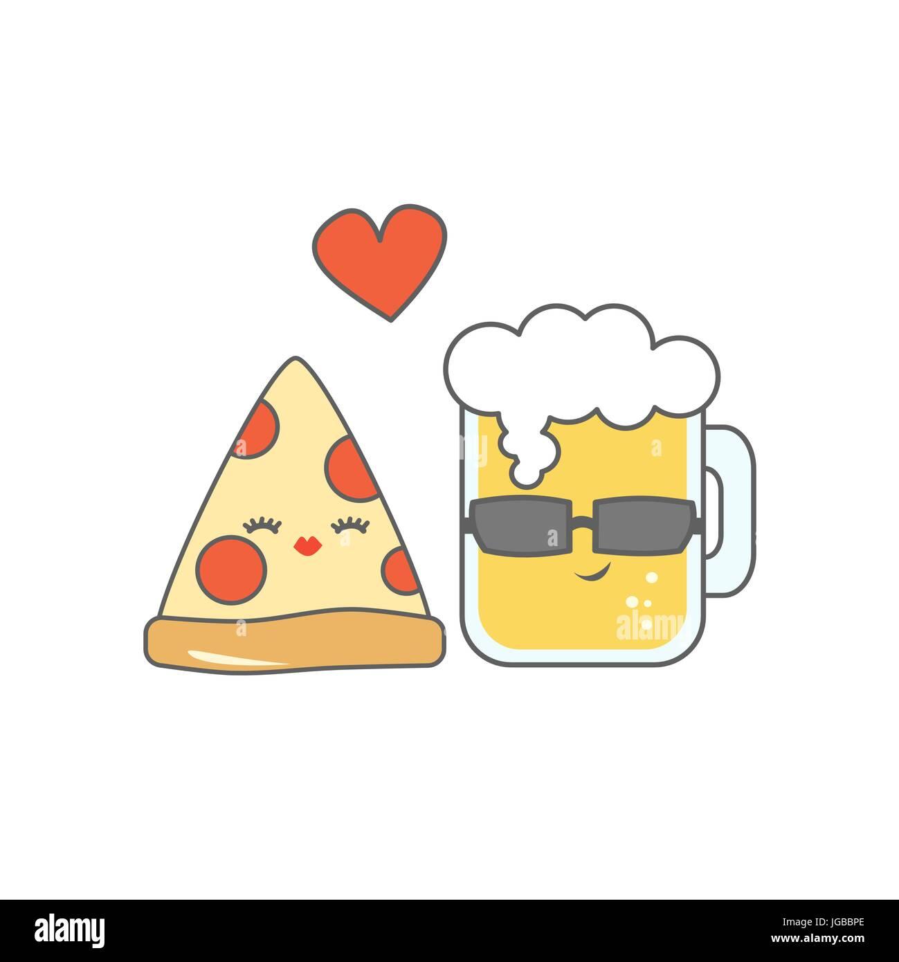 Cute Cartoon Pizza Et Verre De Biere Dans L Amour Drole Vector Illustration Image Vectorielle Stock Alamy