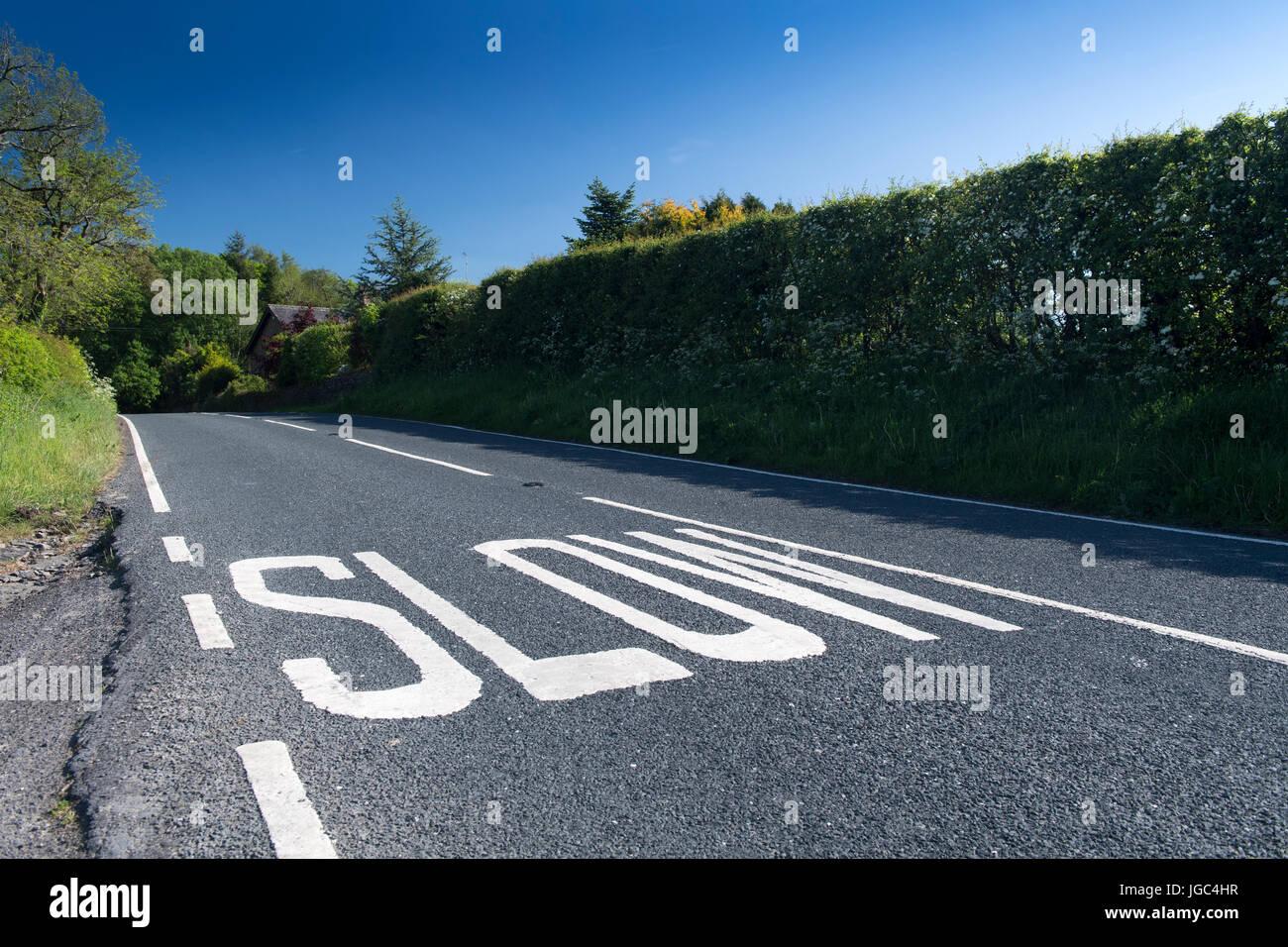 Le marquage routier lente sur une route rurale dans le Lancashire, Royaume-Uni. Photo Stock