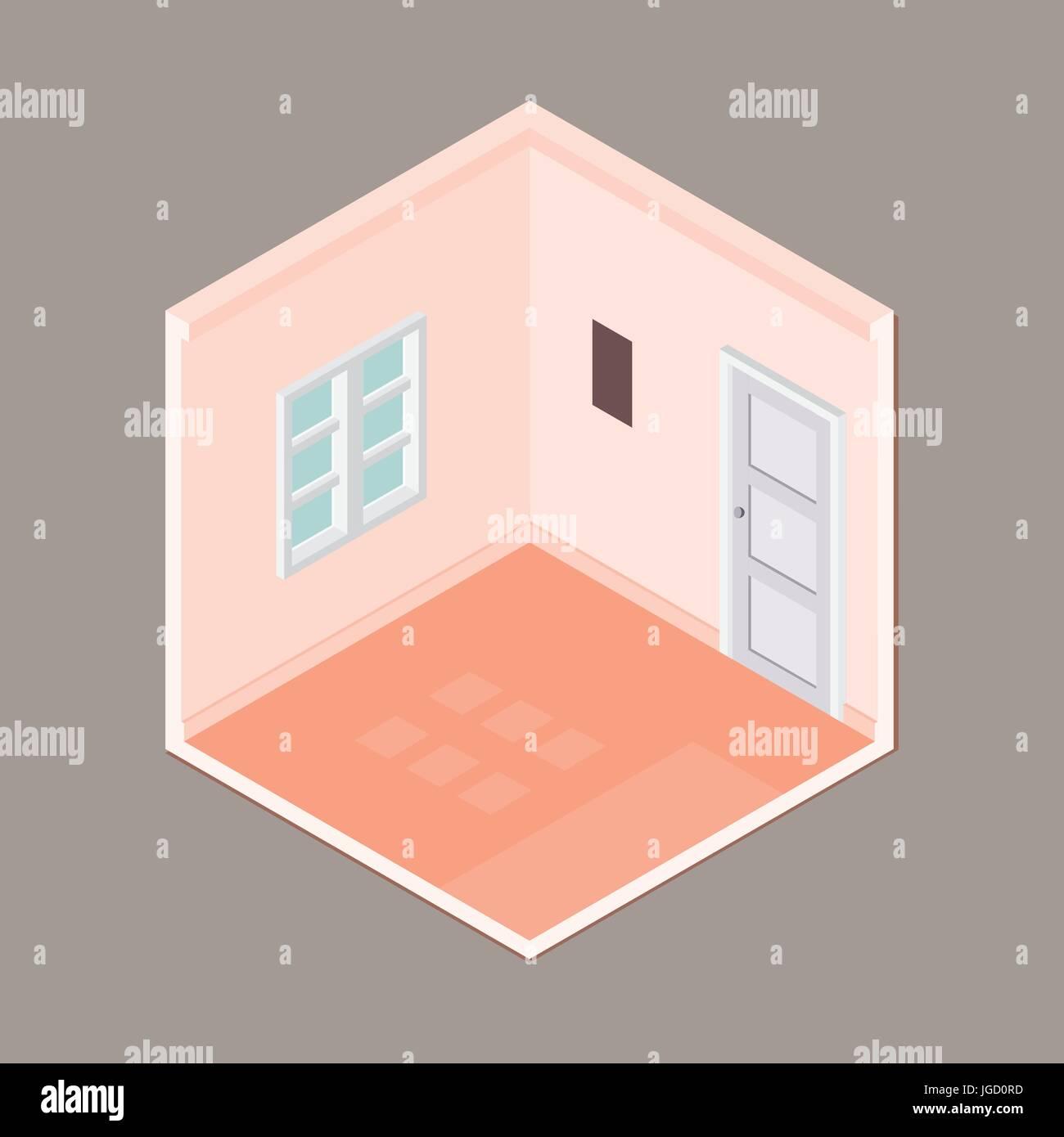 Télévision 3D isométrique salle vide avec fenêtre et porte, chambre ...