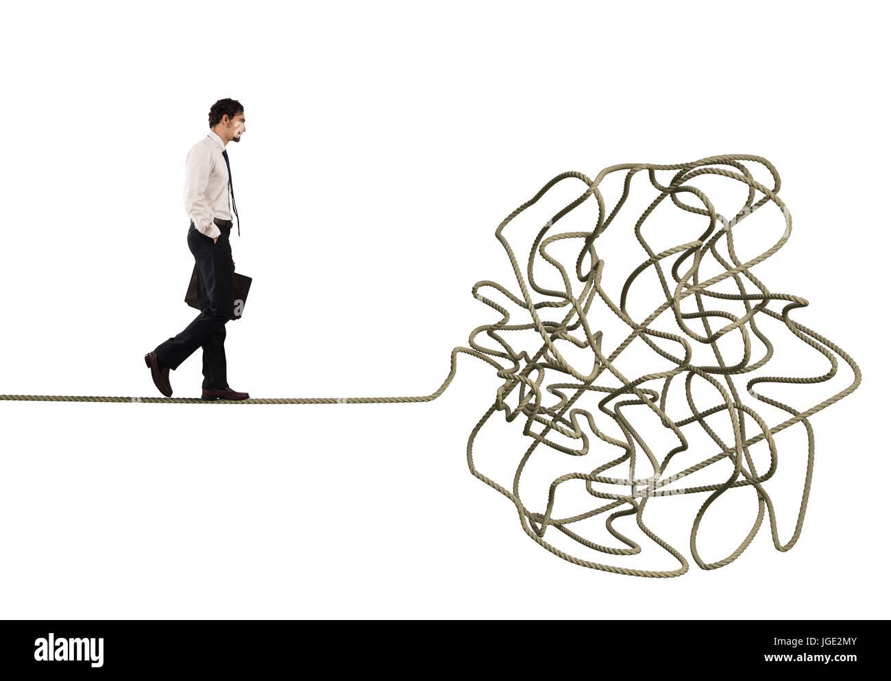 Problème et difficulté concept avec corde emmêlées Photo Stock