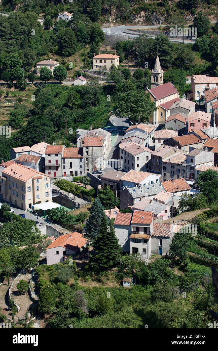 Le village de Venaco (Corse) Photo Stock
