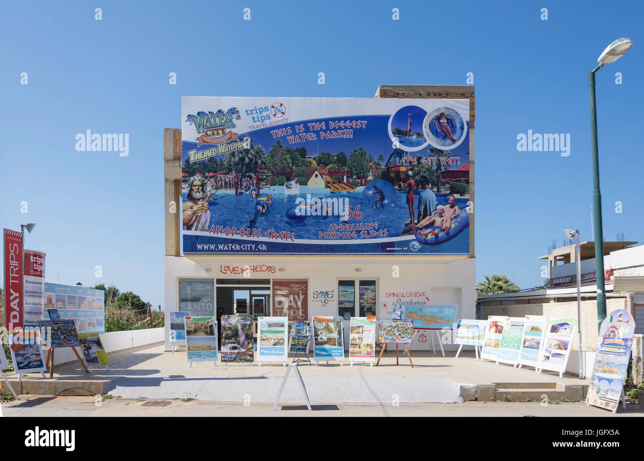 Conseils de voyage Agence de Voyages, Beach Road, Malia Héraklion, Crète, Région (Crète), Grèce Photo Stock