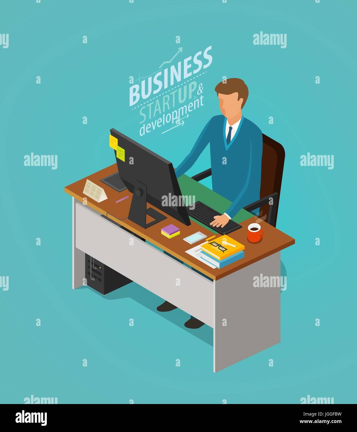 Concept d'entreprise. Homme d'affaires, l'homme assis à un bureau avec ordinateur. Employée de bureau, travail, lieu de travail, l'icône de carrière. Télévision vector illustration Illustration de Vecteur