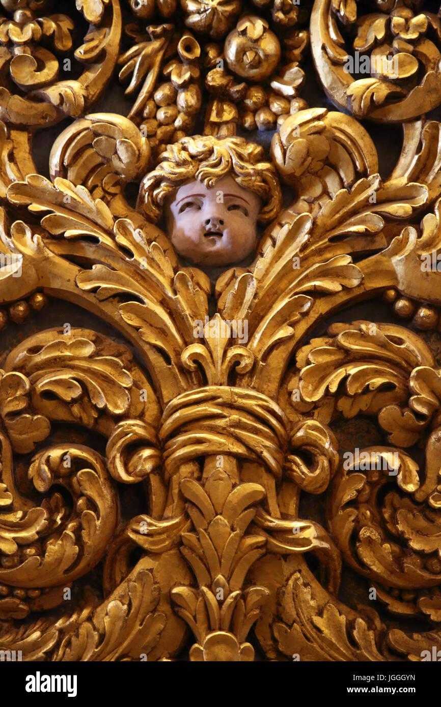 La belle et unique monument baroque de St John's Co-cathédrale, La Valette, Malte Banque D'Images