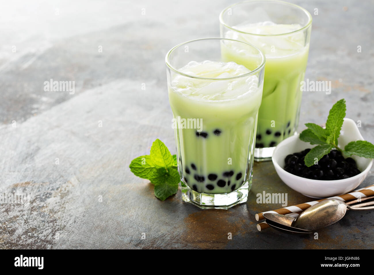 Bubble tea Matcha Photo Stock