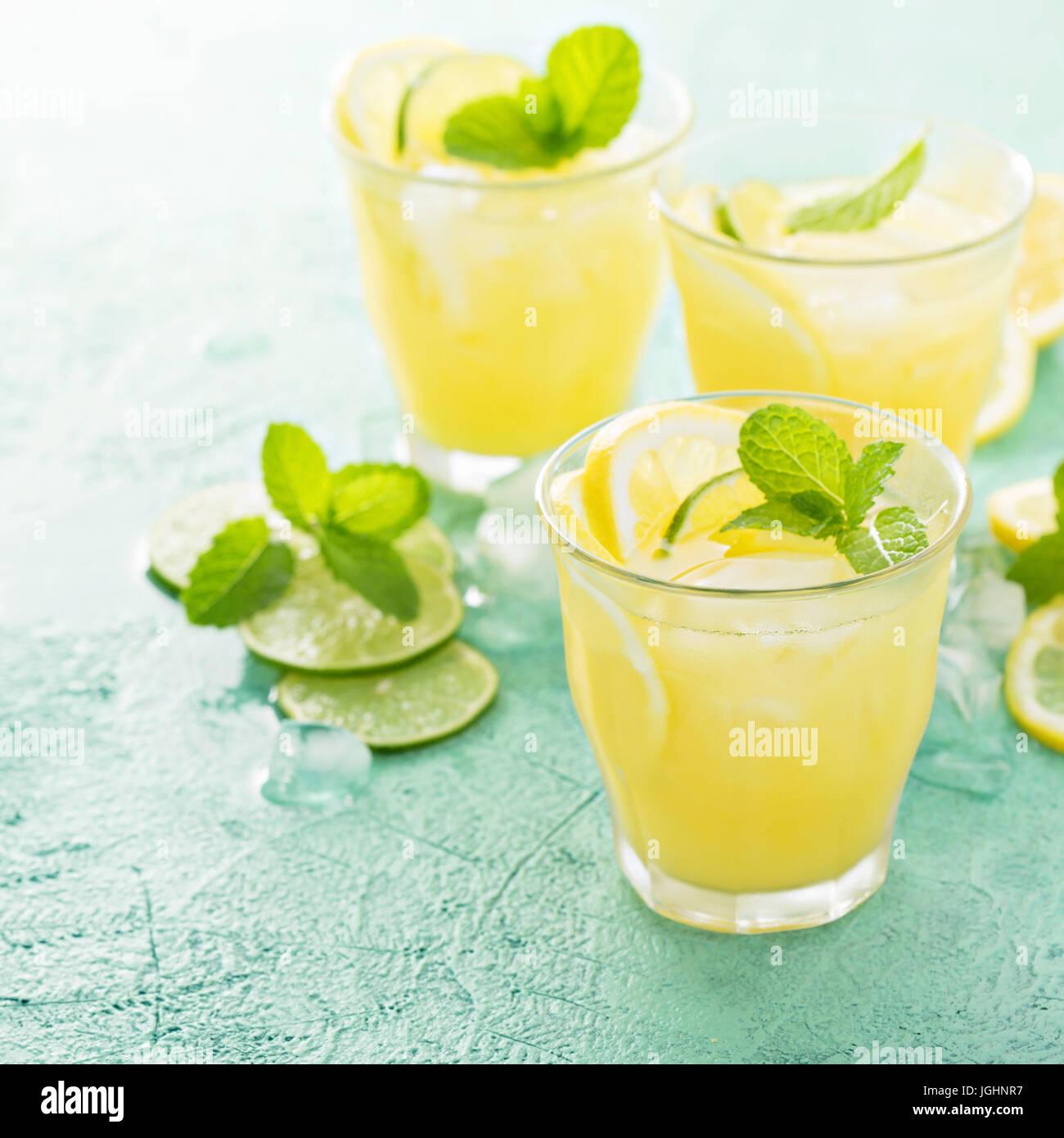 Cocktail d'agrumes rafraîchissante avec du citron Banque D'Images