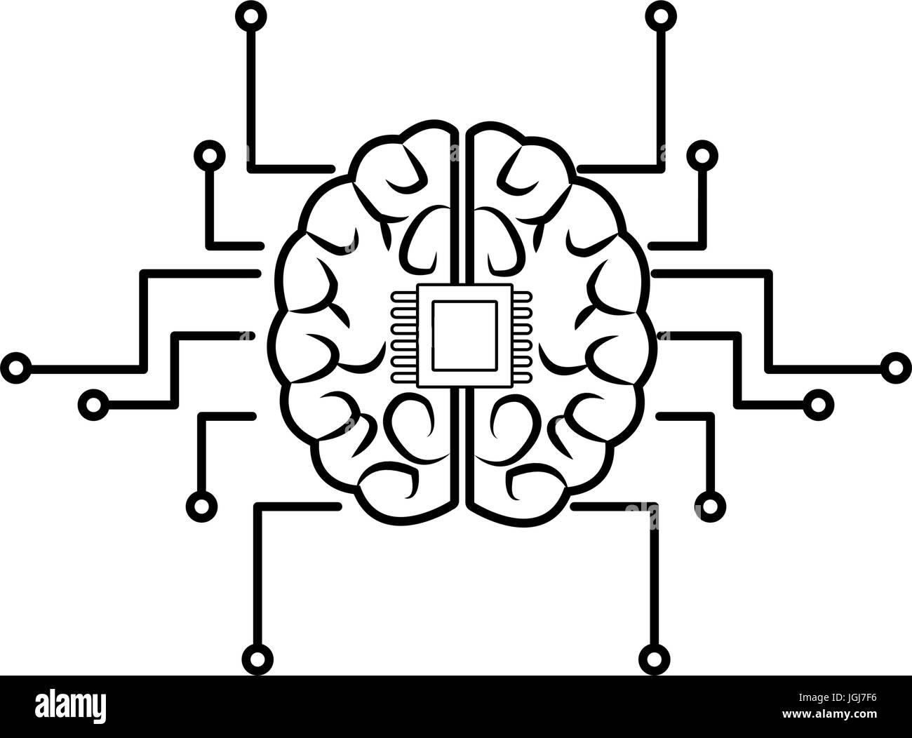 Circuit imprimé cerveau humain centre de système informatique ...