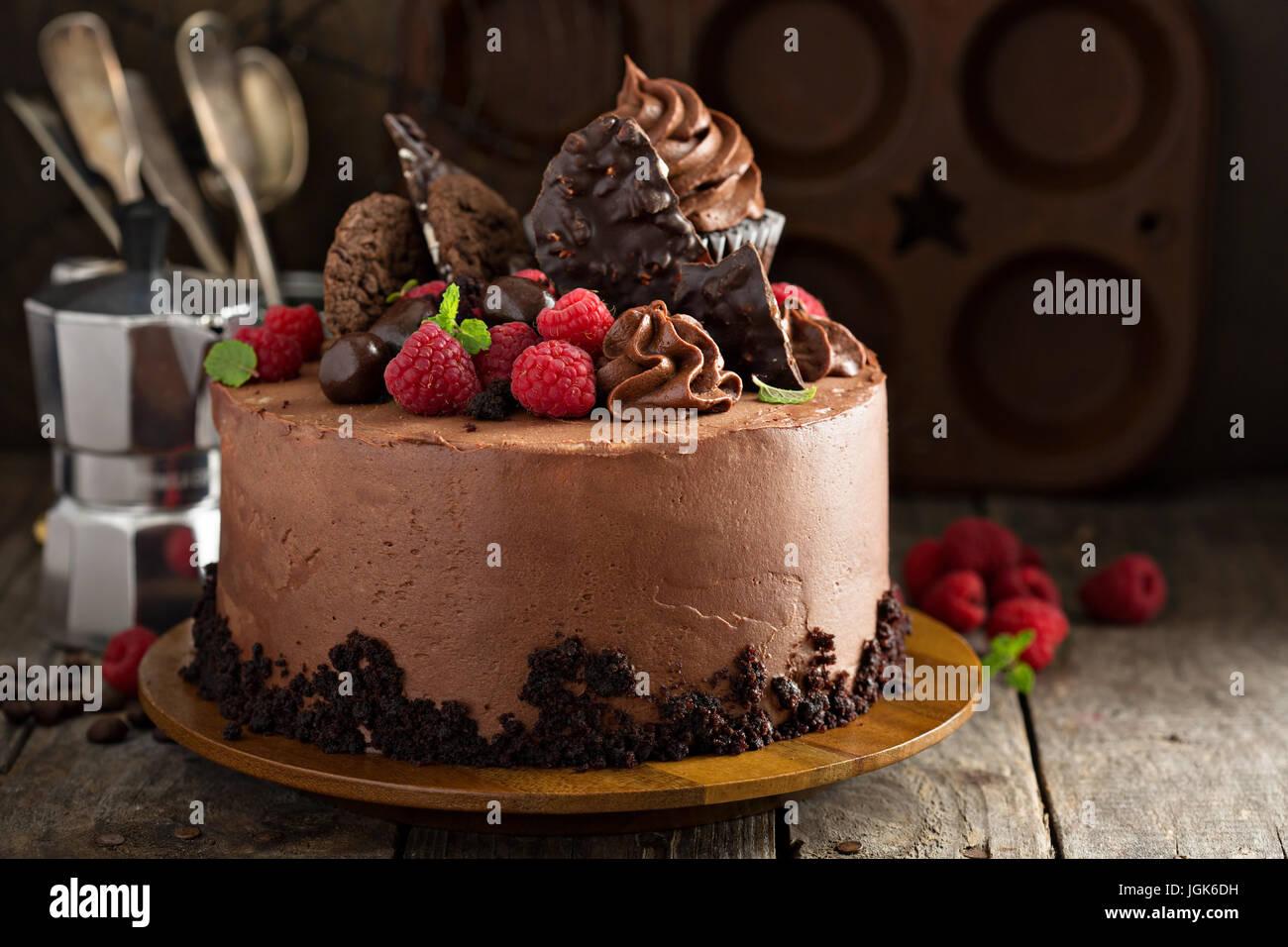 Gâteau au chocolat gourmet avec décorations Photo Stock