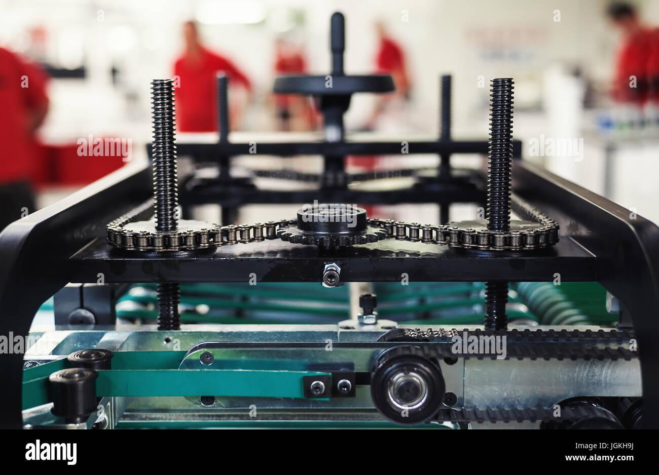 Composition abstraite de la fabrication de machines industrielles pour l'emballage. Photo Stock