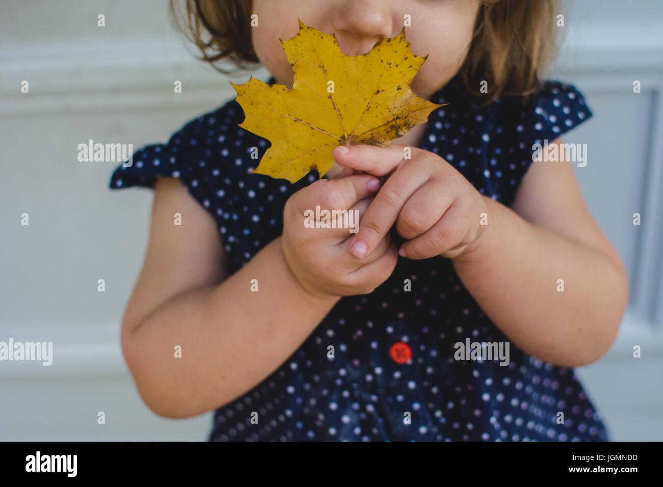 Un jeune enfant tenir une feuille jaune en automne. Photo Stock