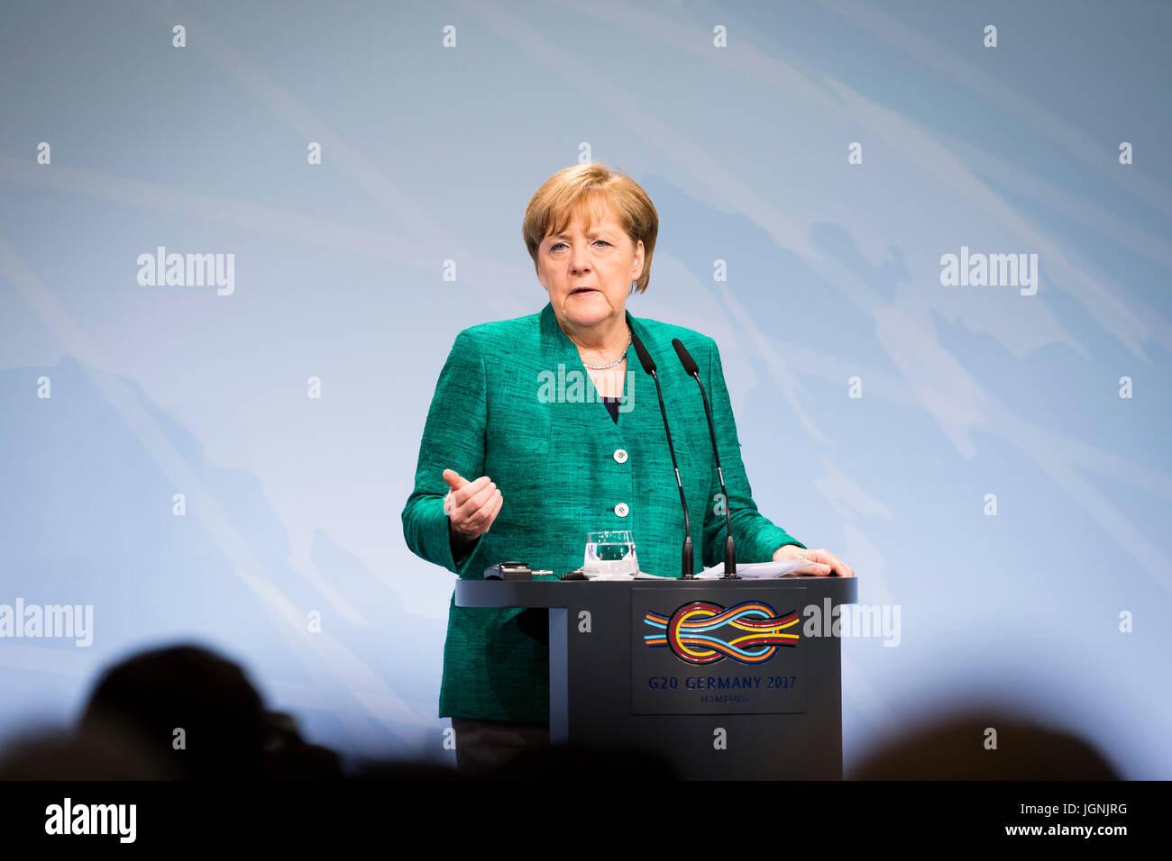 La chancelière allemande Angela Merkel lors d'une conférence de presse à l'issue des deux Photo Stock