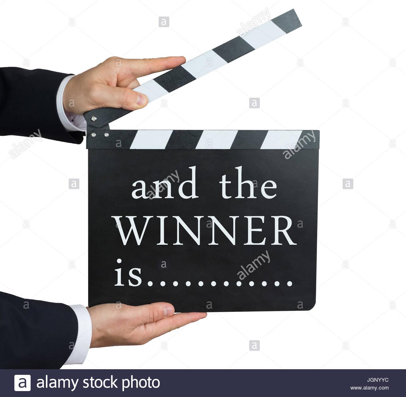 Et le gagnant est - écrit sur un clap Photo Stock