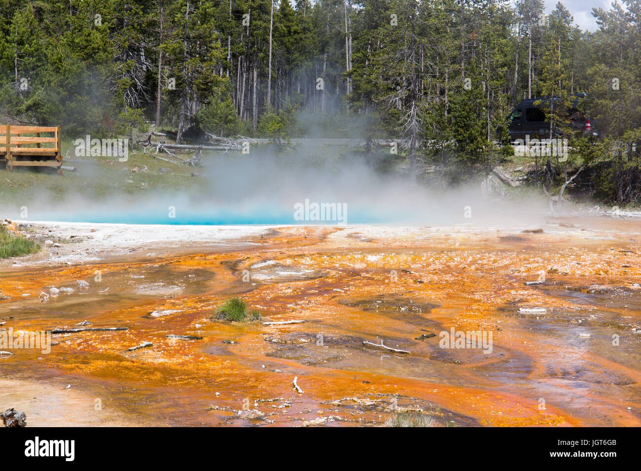 Silex ressort dans le Lower Geyser Basin comme vu de la fontaine Paintpot Trail, le Parc National de Yellowstone Photo Stock