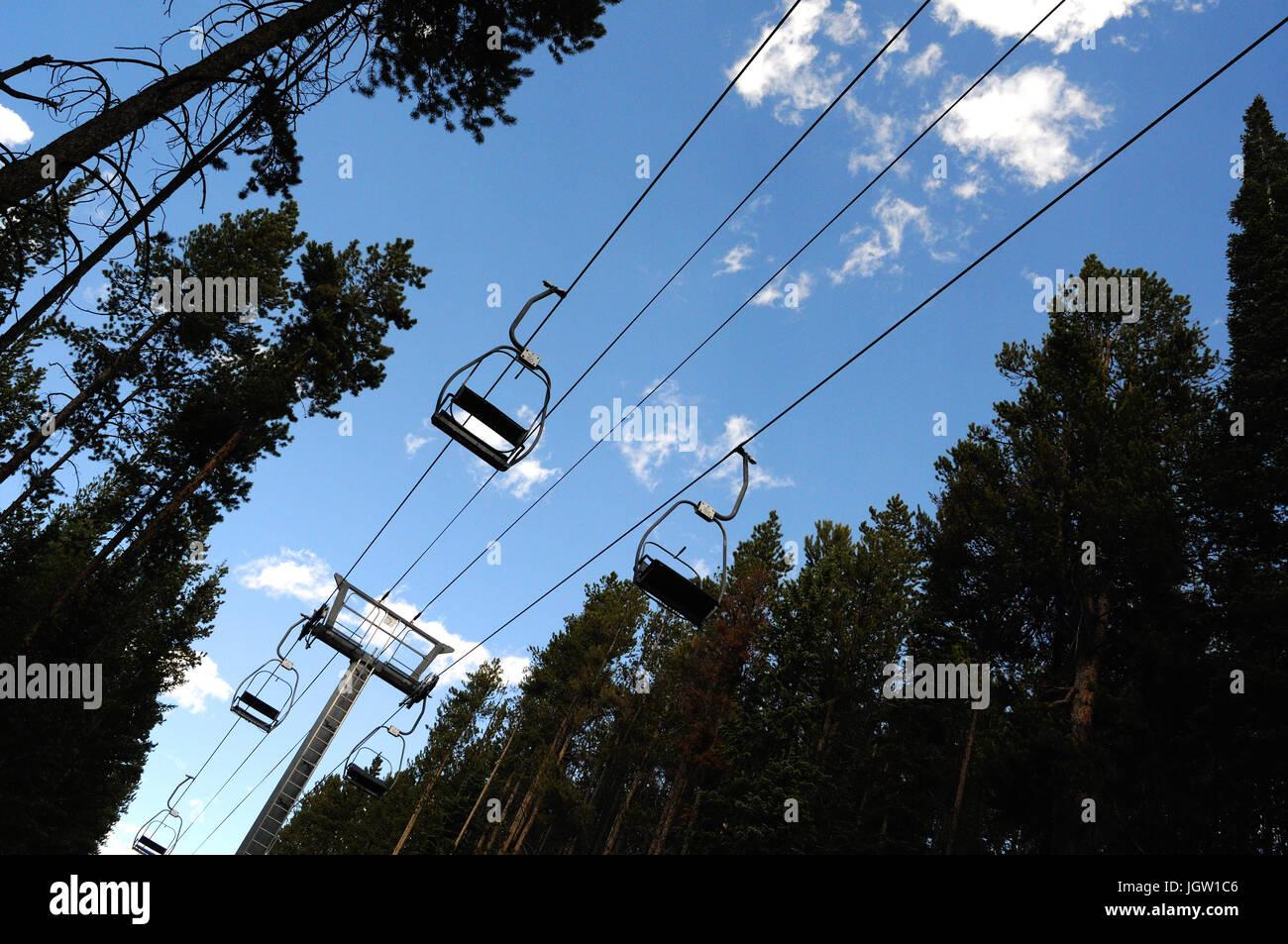 Remontées mécaniques en été à Breckenridge, Colorado, USA Banque D'Images