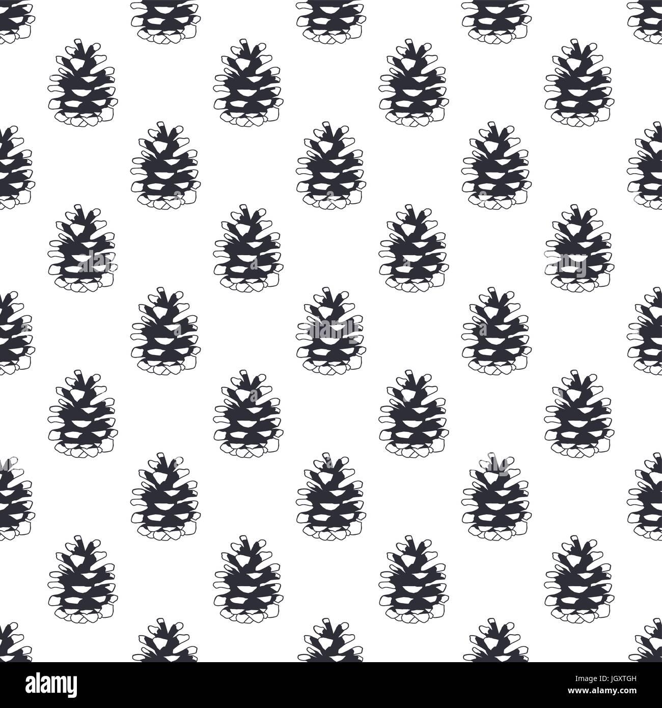 Cône de pin dessiné à la main vintage pattern design. Fond d