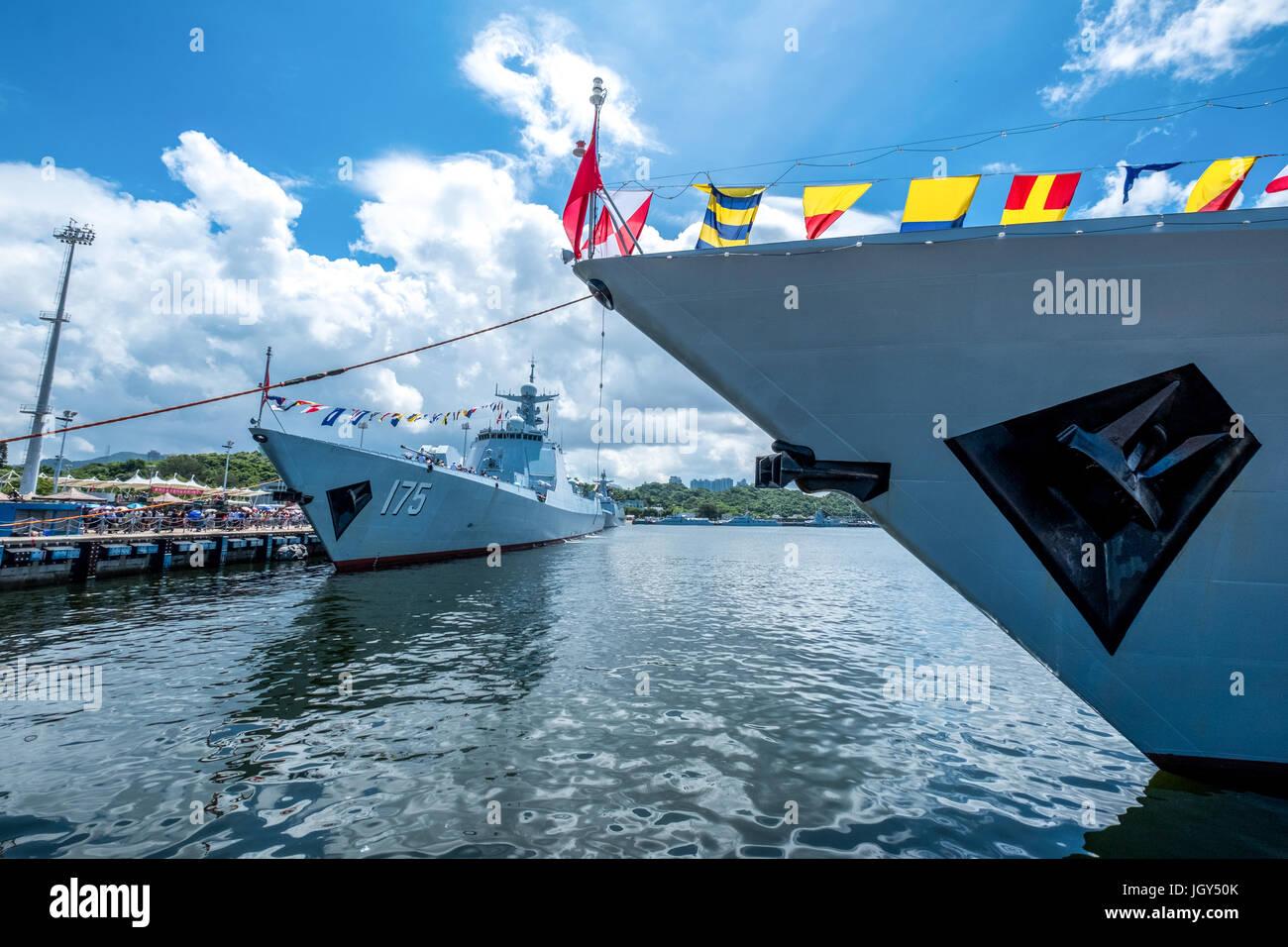 La base navale de Ngong Shuen Chau, Hong Kong - 9 juin 2017: Yinchuan (numéro 175) missiles visité Hong Kong et a été ouvert au public. Banque D'Images