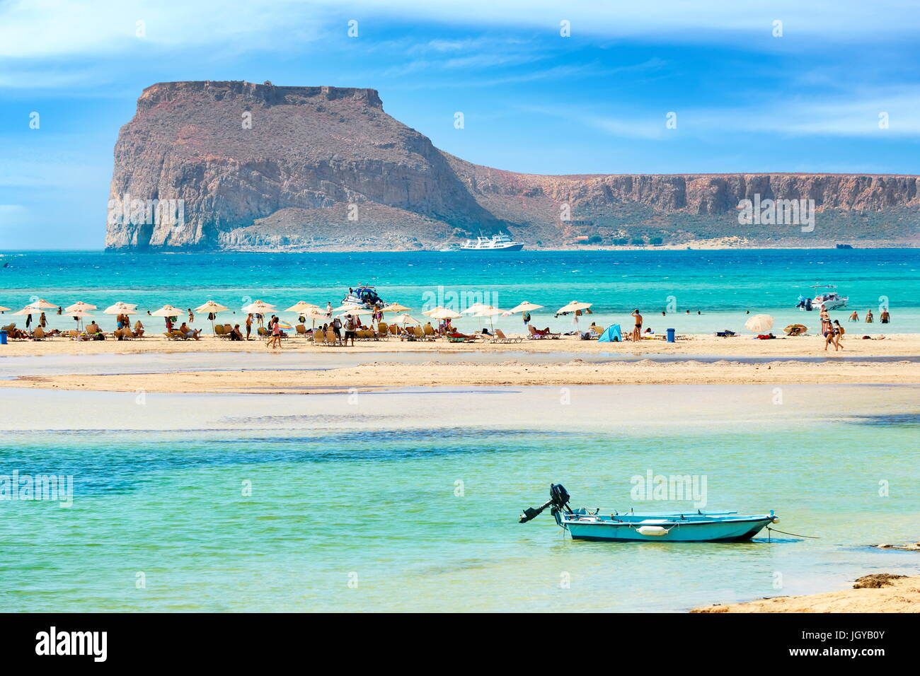Plage de Balos, péninsule de Gramvousa, île de Crète, Grèce Photo Stock