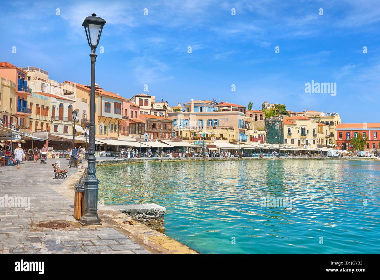 Port vénitien de Chania vieille ville, l'île de Crète, Grèce Photo Stock