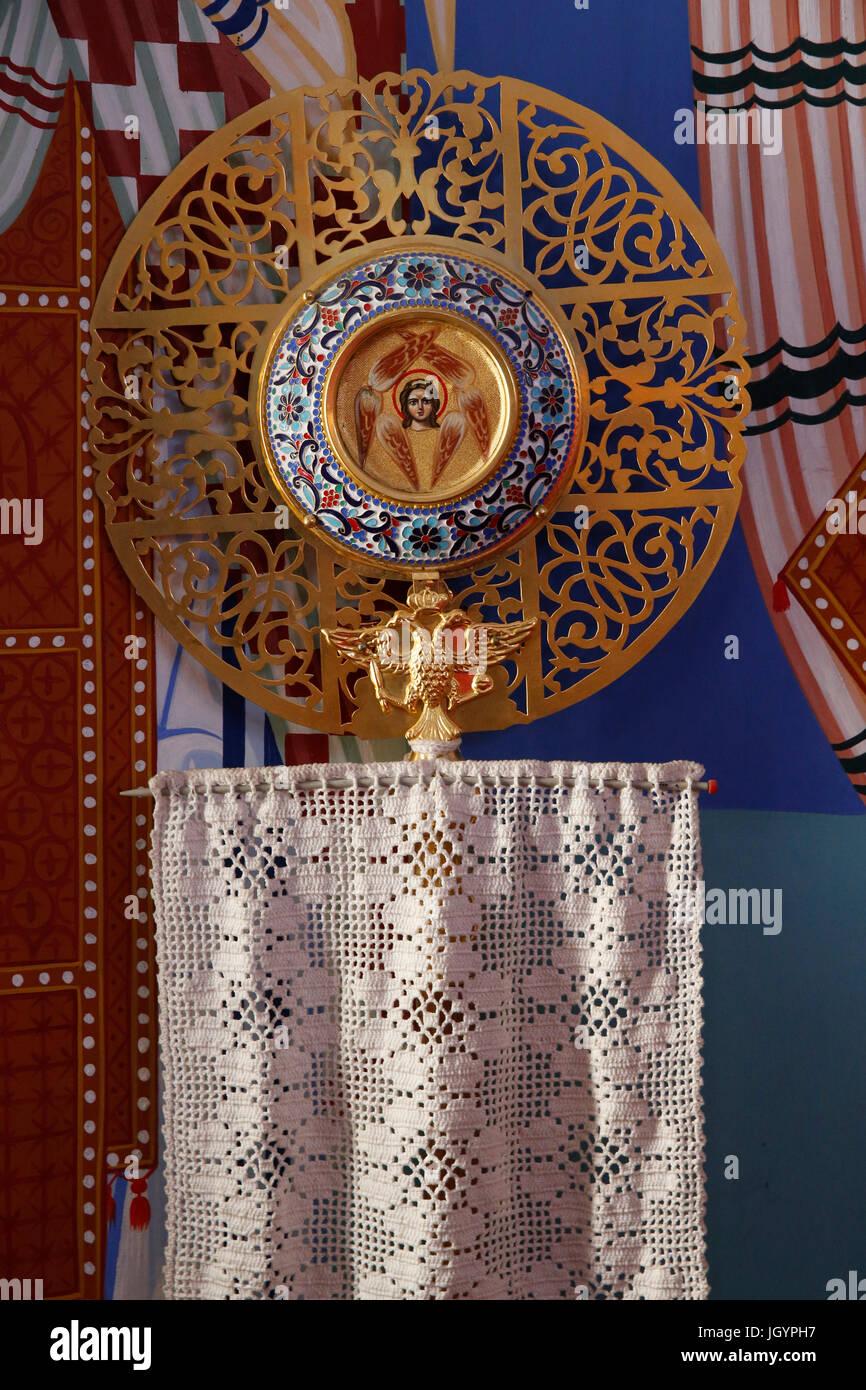 Objet liturgique dans le sanctuaire de Pedoulas église orthodoxe. Chypre. Photo Stock