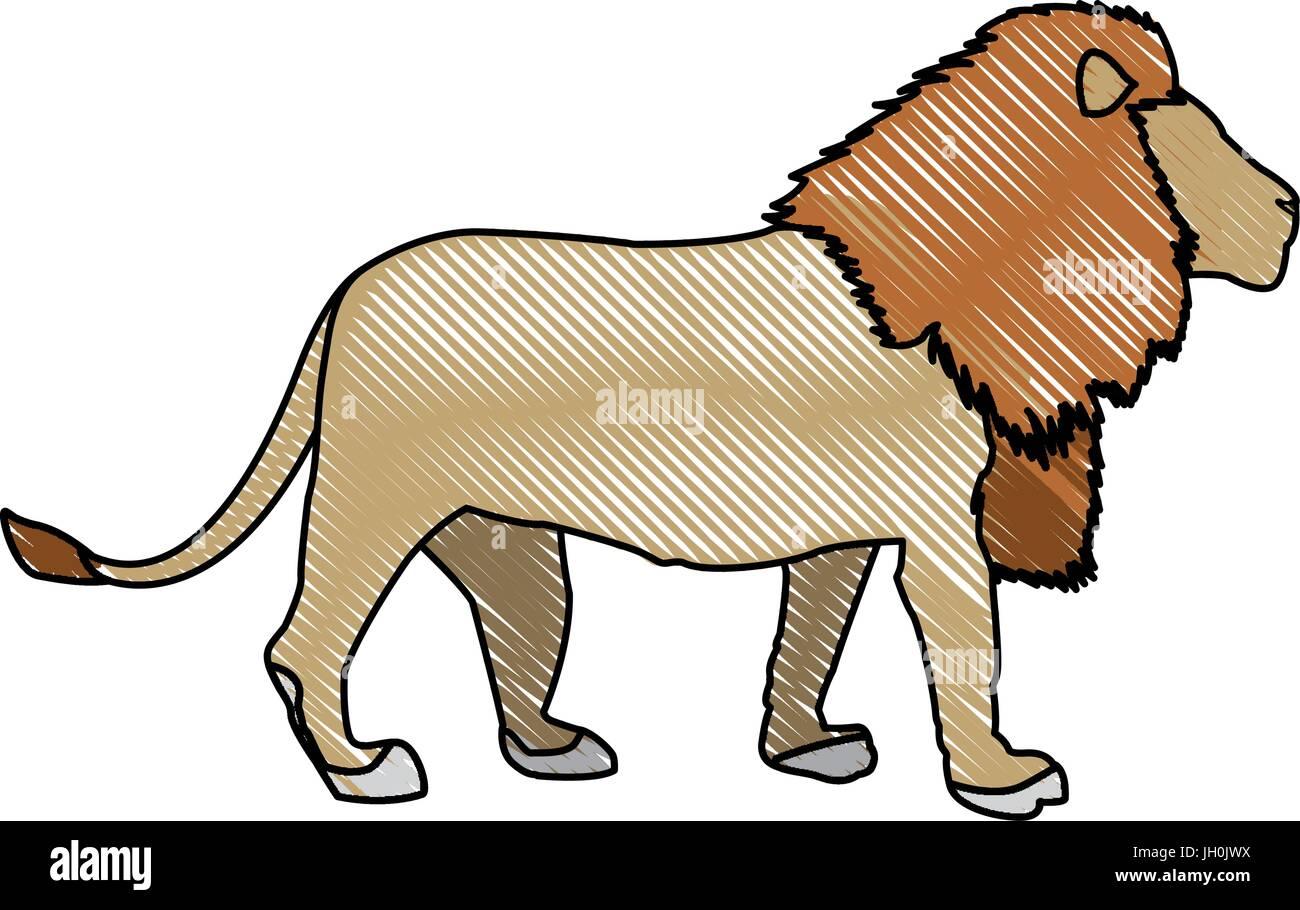 Grand lion fière africaine noblesse puissante et féroce permanent Illustration de Vecteur
