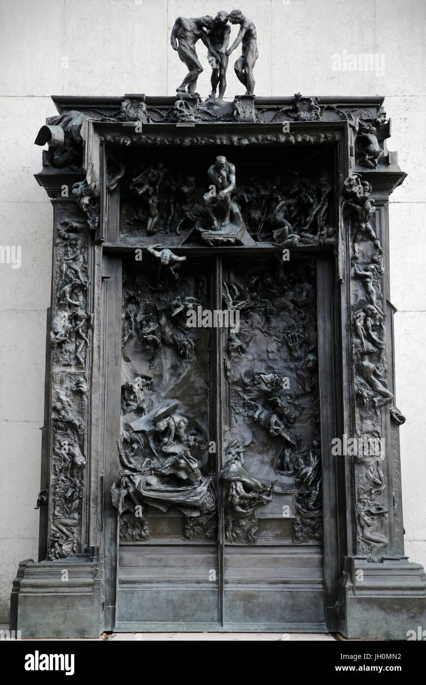 Musée Rodin, Paris. Les portes de l'enfer. À propos de 1890. La France. Photo Stock