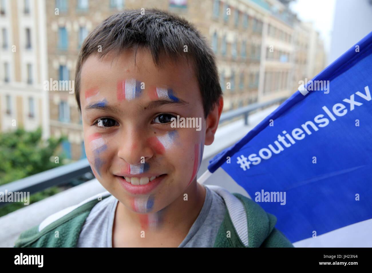 Supporter de football français. La France. Photo Stock