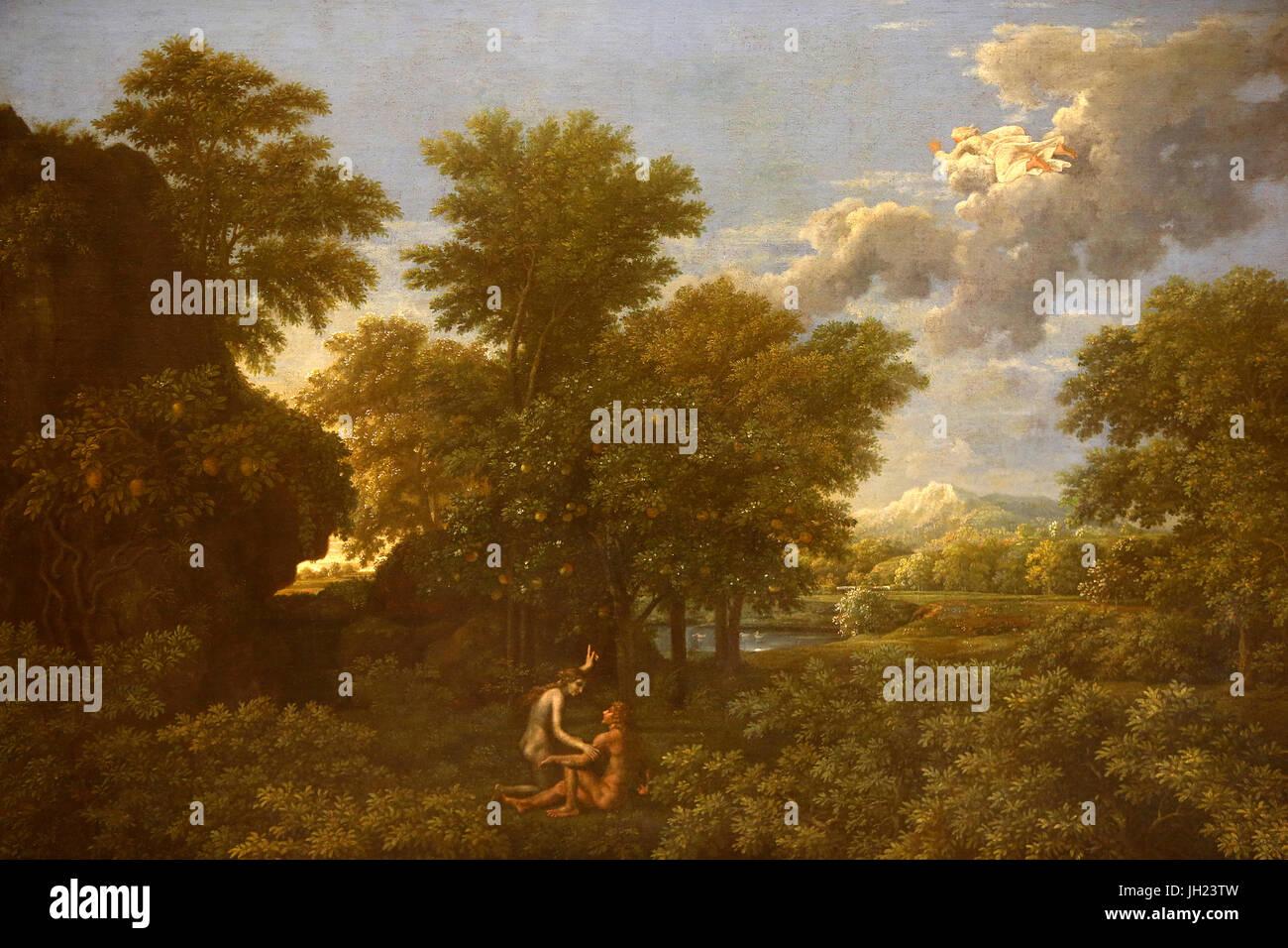 Musée du Louvre. Printemps ou le paradis sur terre. Nicolas Poussin. 1660-1664. La France. La France. Photo Stock