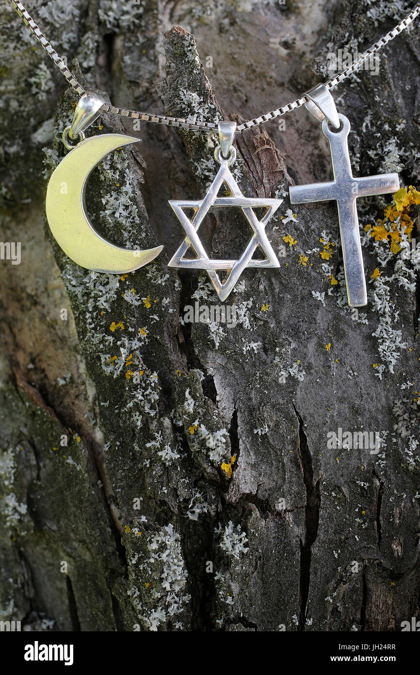 Symboles de l'islam, l'islam et le christianisme. Photo Stock