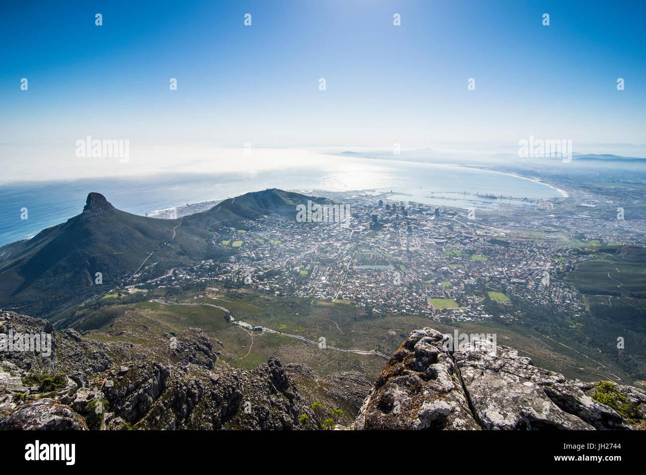 Vue sur le cap à partir de la Table Mountain, Afrique du Sud, l'Afrique Photo Stock