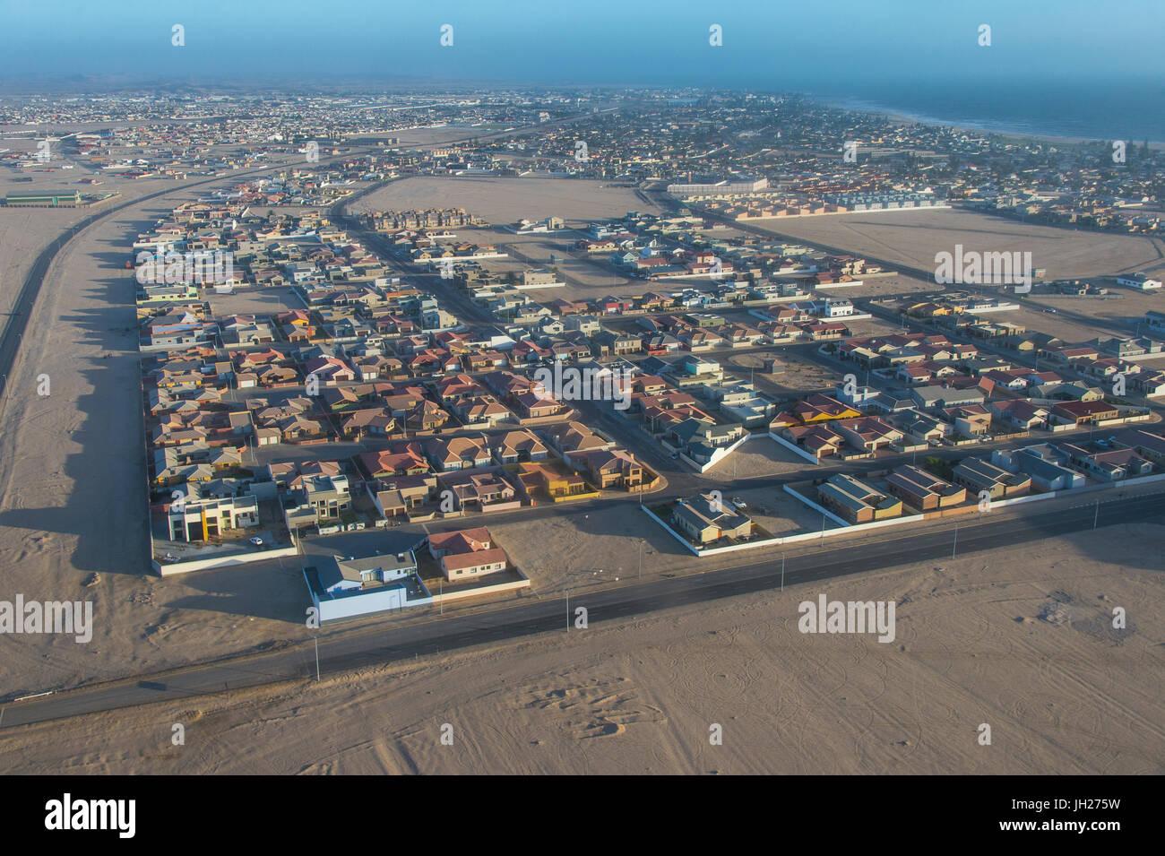 Vue aérienne de Swakopmund, Namibie, Afrique Banque D'Images