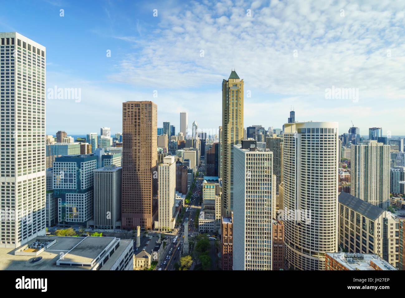Sur les toits de la ville, Chicago, Illinois, États-Unis d'Amérique, Amérique du Nord Photo Stock