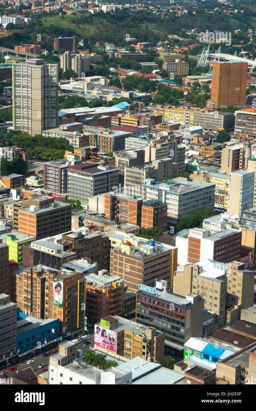 La ville de Johannesburg du Sommet de la Carlton Centre, Johannesburg, Afrique du Sud, l'Afrique Photo Stock