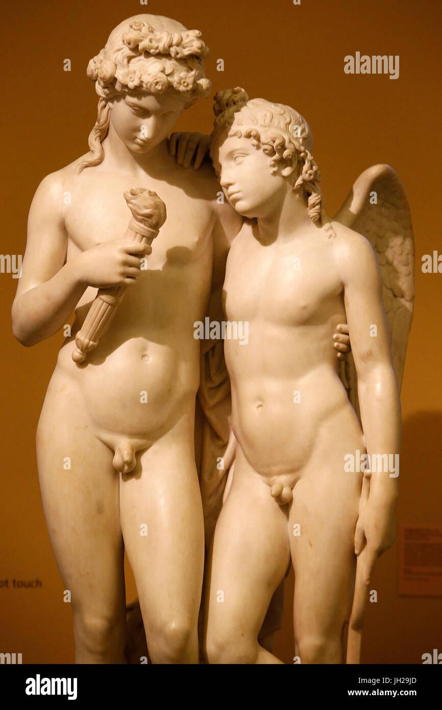 Le Victoria and Albert Museum. George Rennie. Petit Cupidon le flambeau de l'hymen. À propos de 1831. En. Photo Stock